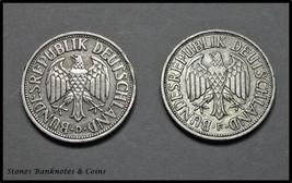2 x German 1 Mark Coins~1950 D&F Federal Republic~Copper Nickel~KM#83~VF... - $2.34