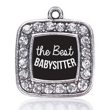 Inspired Silver The Best Babysitter Loose Square Charm with Crystal Rhin... - $9.30