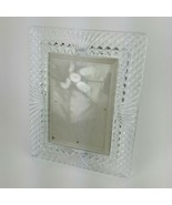 24% Full Lead Crystal Picture Photo Frame 5x7 Diamond Cut EUC Clear Glass - $34.58