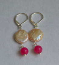 Handmade Freshwater Coin Pearl And Pink Jade Stone Sterling Silver Earring - $15.99