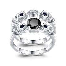 14K White Gold Over Round Cut Sapphire & D/VVS1 Diamond Wedding Bridal R... - $2.384,44 MXN