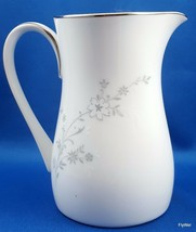 Noritake Breeze Creamer White and Grey Floral Platinum Trim Contemporary... - $16.83