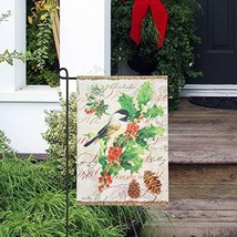 Goose Creek Birds Double-Sided Linen Blackout Garden Flag with Flag Pole... - $9.26