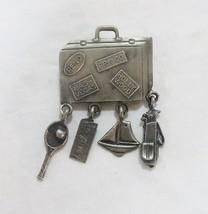 Vintage L RAZZA costume jewelry brooch pin silver tone suitcase travel s... - $16.32