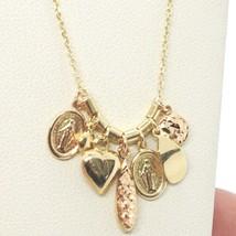 18K YELLOW ROSE GOLD NECKLACE, MIRACULOUS MEDAL, HEART, DROP, DISC, PENDANTS image 2