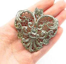DANECRAFT 925 Silver - Vintage Antique Baroque Swirl Floral Brooch Pin - BP4496 - $93.49