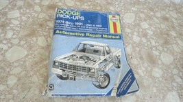 Haynes Automotive Repair Manual 1974-1991 Dodge Pickups 2WD&4WD  Used - $7.65