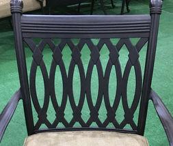 Patio dining chairs set of 6 cast aluminum furniture Tuscany sunbrella cushions image 4