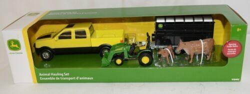 John Deere TBEK37656 Animal Hauling Set Yellow Truck 2 cows Trailer Tractor