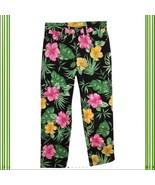 Ralph Lauren Petites Black multi colored floral trim cropped capri pants... - $23.95