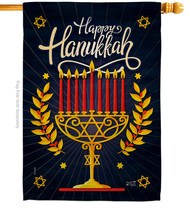 Happy Hanukkah - Impressions Decorative House Flag H137327-BO - $36.97