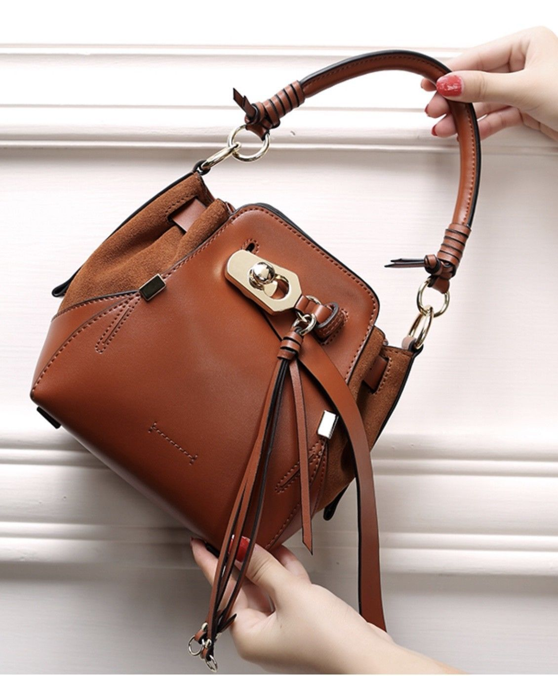 Italian Leather & Suede Drawstring Shoulder Bag Crossbody Handbag Purse 2469