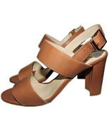 Manolo Blahnik Khan Double-Strap Sandals Slingback Tan Leather Shoe 36.5 - $301.89