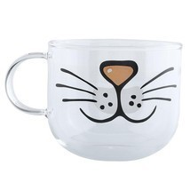 Cat Glass Coffee Mug Home Decoration Transparent Clear Water Mugs 550ML - £9.36 GBP
