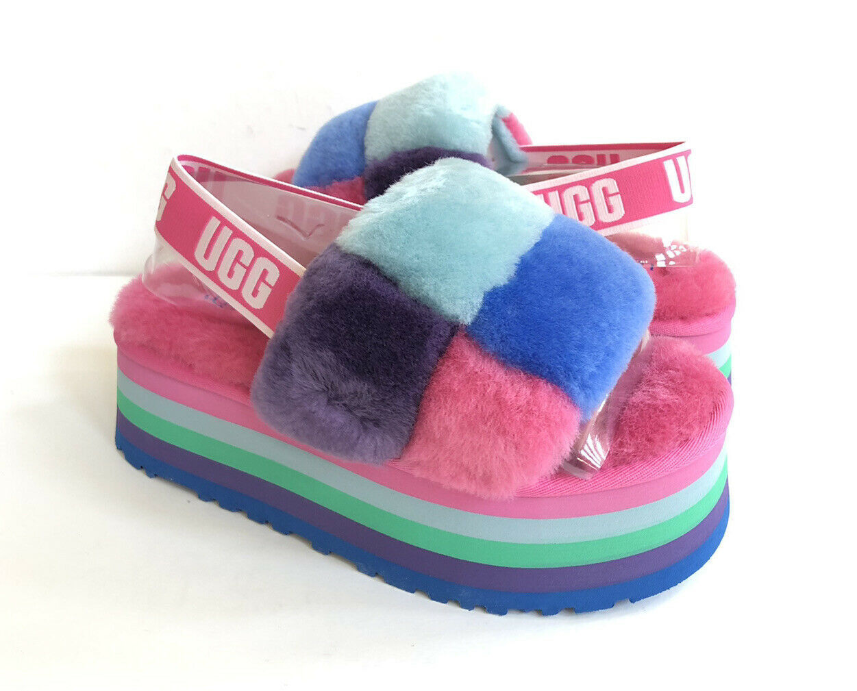 Primary image for UGG FLUFF YEAH DISCO CHECKER SLIDE PRIDE RAINBOW BLUE SANDAL US 7 / EU 38 / UK 5