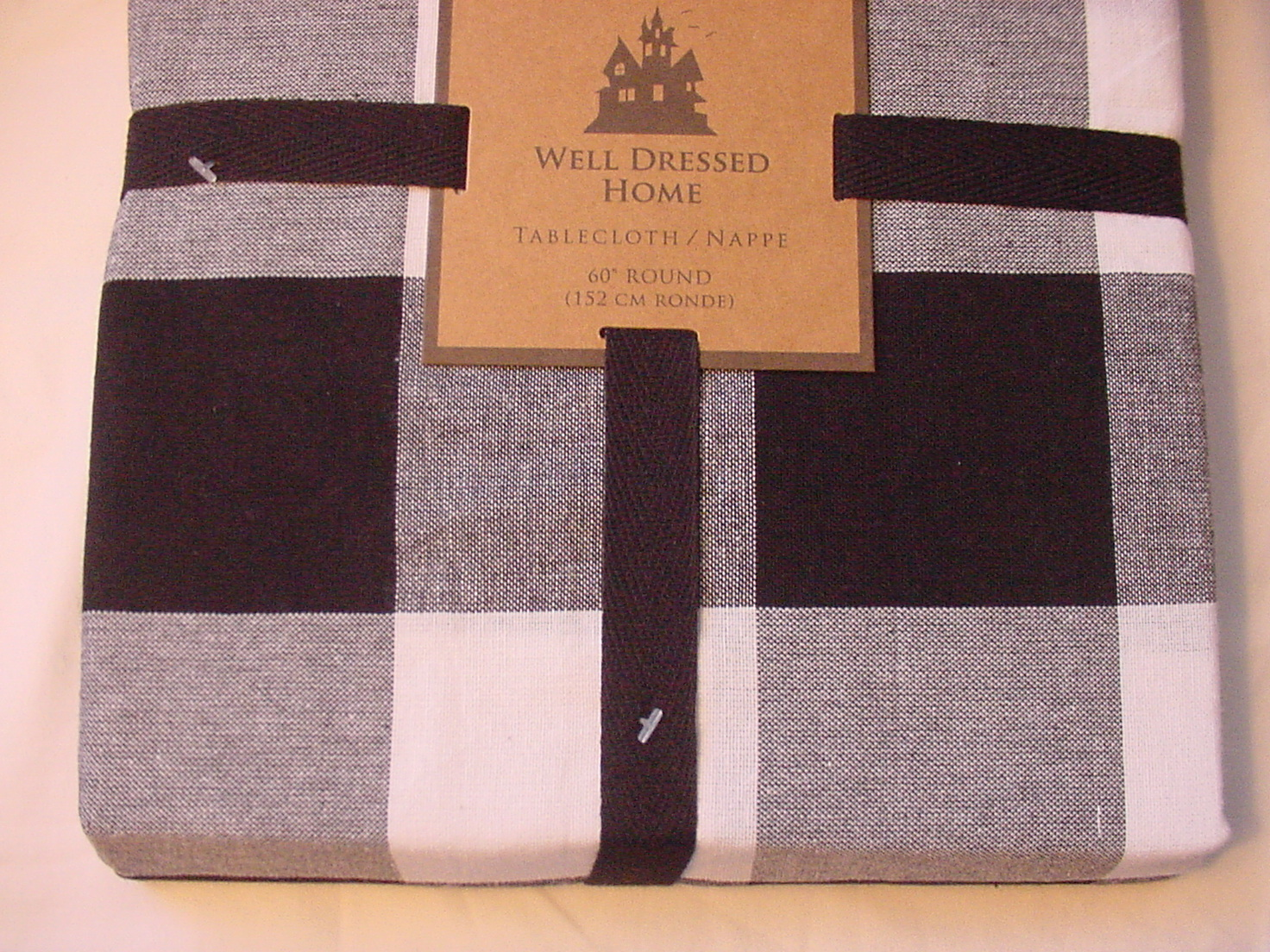 "Well Dressed Home Black White Plaid Check Cotton Tablecloth 60"" Round"