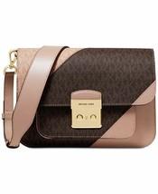 Nwt Michael Michael Kors Sloan Editor Signature Colorblock Shoulder Bag Fawn - $159.16