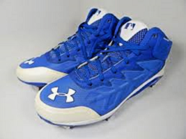 Under Armour Compfit Blue Metal Baseball Cleats Mens Size 13 NWT FREE SOCKS - $22.99