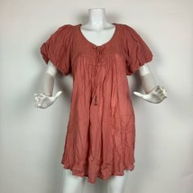 Free People Dress Cotton Pink Tunic Casual Embroidered Sz M - $39.99