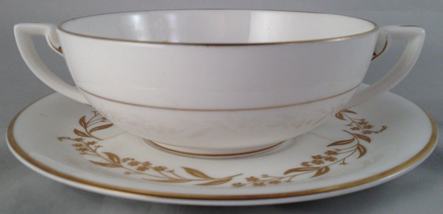 Royal Worcester china Saguenay cream soup bowl & saucer (6 avail.) FREE SHIPPING
