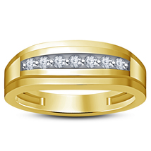925 Sterling Solid Silver Mens Wedding Anniversary Ring 14k Yellow Gold Finish - £67.43 GBP