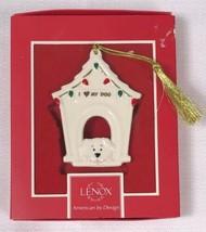 "Adorable Lenox I Love My Dog Ceramic Christmas Ornament, New Nib 3.25"" Dog House - $9.79"