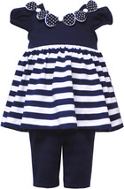 Rare Editions Baby Girl 3M-24M Navy Blue White Stripe Knit Dress Legging Set