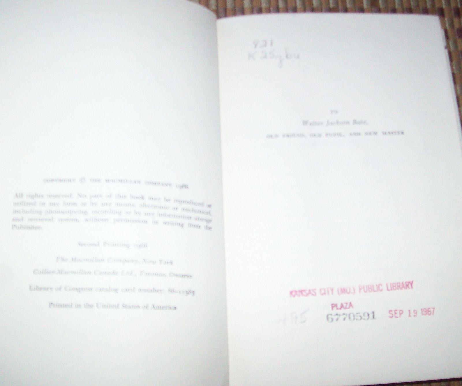 John Keats His Life and Writings by Douglas Bush 1966 HBDJ