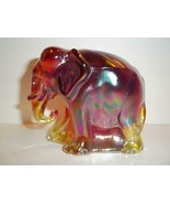 Fenton Glass Ruby Red Carnival Working Worker Elephant Figurine NFGS Ex ... - $125.62