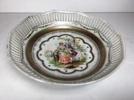 """9"""" Vintage Schumann Bavaria round (10 sided) reticulated bowl w/ Victori... - $36.63"""