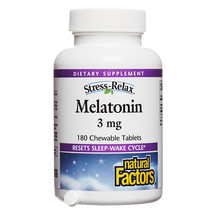 Natural Factors Stress-Relax Melatonin 3mg, 180 Chewable Tablets - $12.49