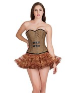 Brown Cotton Halloween Costume Gothic Steampunk Bustier Overbust Corset Top - $69.29