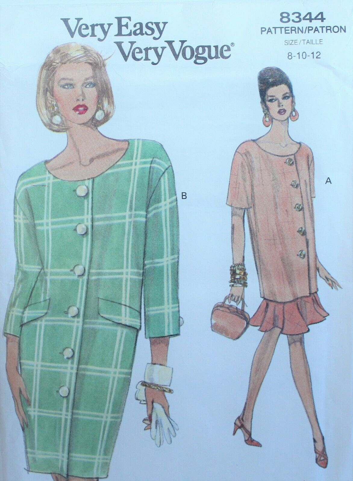Primary image for Vogue 8344 Sewing Pattern Dress Tunic Skirt Size 8 10 12 Vintage