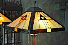 Vintage Tiffany Style Mission Art Stained Glass Lamp -  2 Lights - $219.60