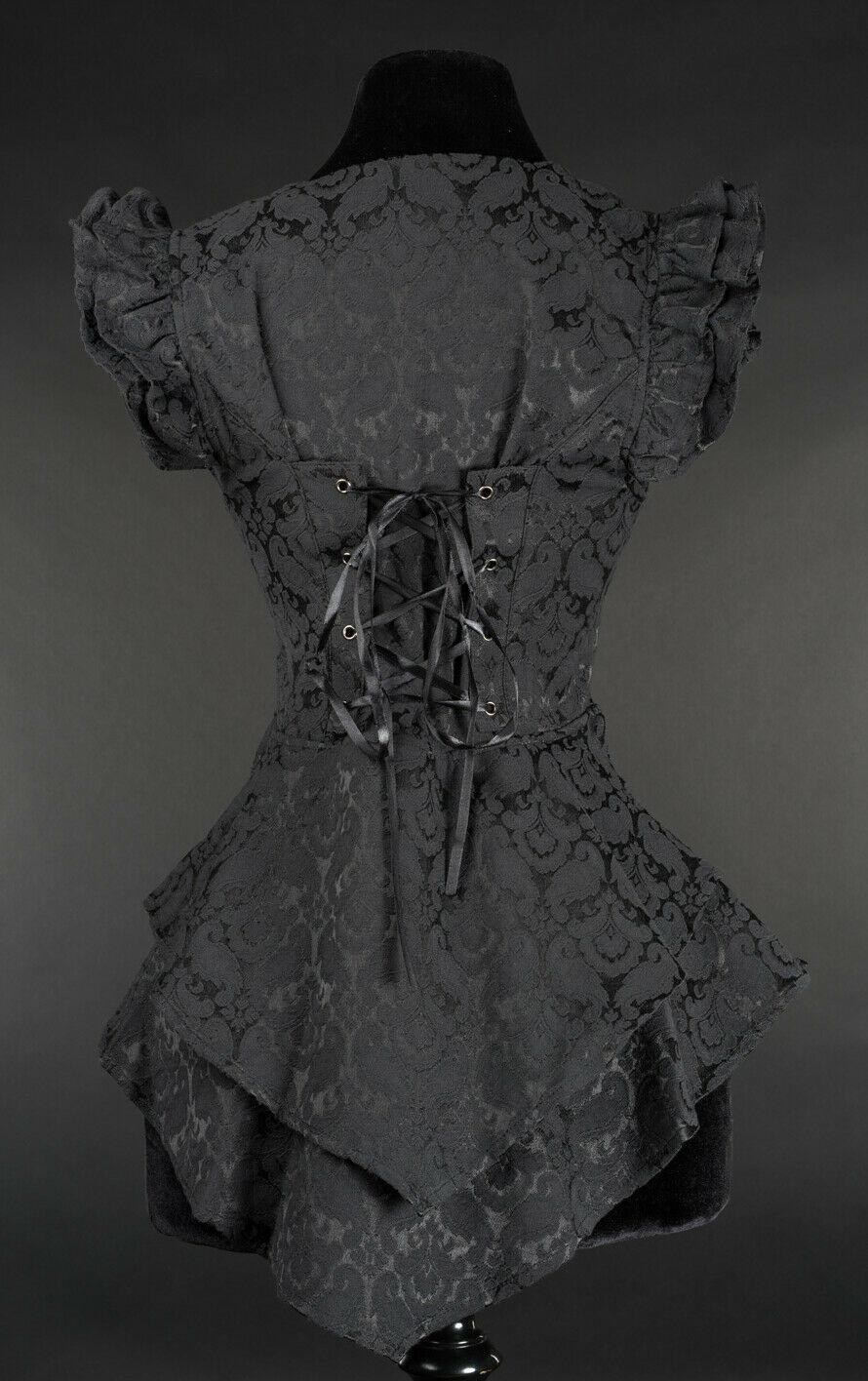 Black Brocade Victorian Gothic Corset Back Vest Steampunk Frilly Waistcoat