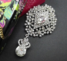Dangle Rhinestone Brooch, Wedding Brooch, Silver Brooch Pin, Wedding Acc... - $9.50