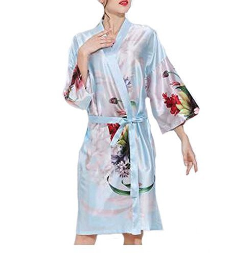 Retro Style Beauty Salon Flower Gown Robes Hairdressing Gown for Clients, Blue