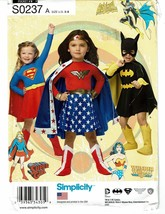 SIMPLICITY PATTERN 0237 CHILD'S BATGIRL COSTUMES SIZE A (3-8) - $4.00