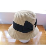 Vintage 100% Paper Straw Color Cloche Flapper Style w/ Black Bow OSFM Hat - $34.15