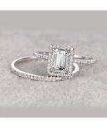 White Gold Plated 925 Silver Rectangular Shape Diamond Bridal Wedding Ri... - $94.12