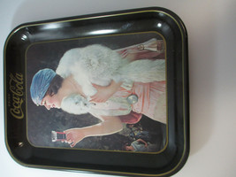 Coca Cola Vintage Tin Flapper Girl 1970s Reproduction Tray Blue Mink Adv... - $11.39