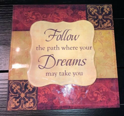 "Inspirational Quote Wall Plaque Decor. Follow Dreams. 9""x9"""