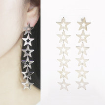 Six Star Long Drop Dangle Earrings 925 Silver Post Women Fashion Stars E... - $23.36