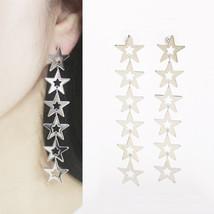 Six Star Long Drop Dangle Earrings 925 Silver Post Women Fashion Stars Earring - $23.36