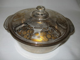 Fire King Glass 2 Qt Casserole Bowl With Lid Sonata Sign George Briard G... - $25.95