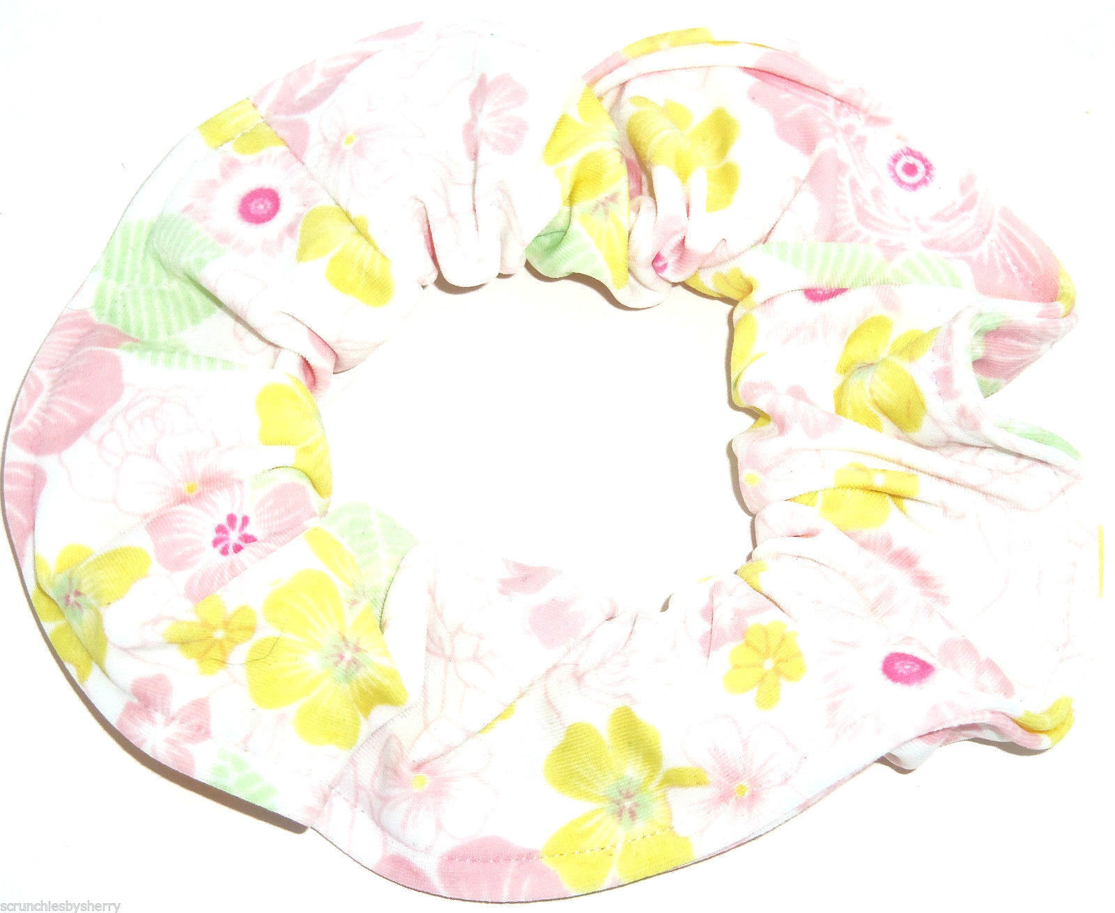 Primary image for Pink Yellow Green Floral on White Spandex Hair Scrunchie Scrunchies by Sherry