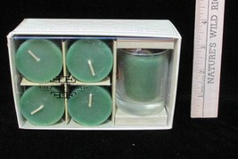 5 Votive Candles Scented Fitz & Floyd FF Candle Holder Glass NEW Green Set - $9.89