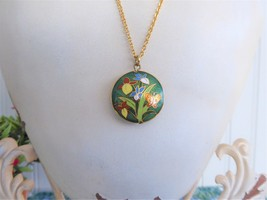 Green Cloisonne Enamel Necklace Iris Butterfly Pendant Double Sided With... - $32.00