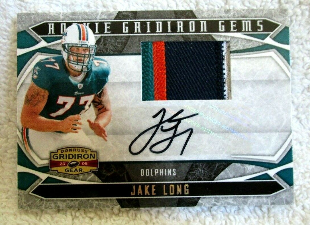 Primary image for Jake Long RC 2008 Gridiron Gear 4Clr Patch ROOKIE AUTO#39/50 PSA10?Dolphins OT