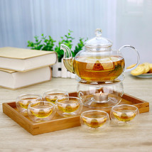 8in1 Gift Teaset Heat-resistant Glass Teapot and 6 double wall cups and ... - $60.04